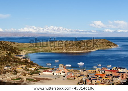 Titicaca lake village - stock photo