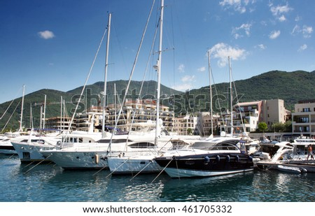 Tivat, Montenegro, July 18th 2016: Luxury yachts at Porto Montenegro, Tivat, Montenegro.