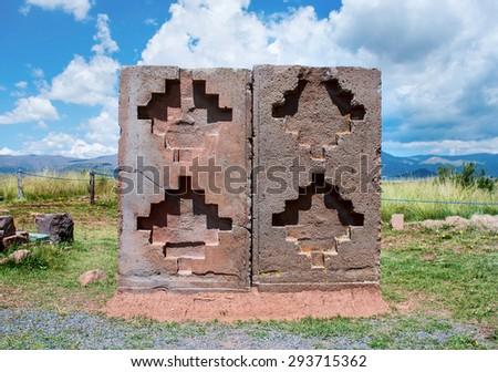 Tiwanaku. Ruins in  Bolivia,  Pre-Columbian archaeological site. - stock photo