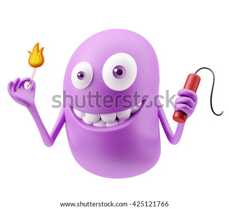 TNT Emoticon Face. 3d Rendering. - stock photo