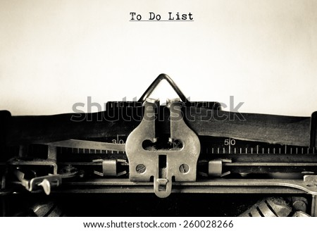 To do List and Goals typed on vintage typewriter - stock photo