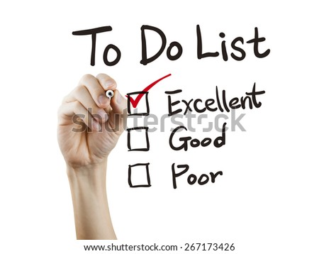 to do list checking by hand over white background