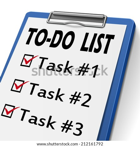 to do list clipboard with check boxes marked for task one, two and three - stock photo