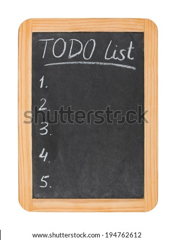 To do list on chalk board isolated on white - stock photo