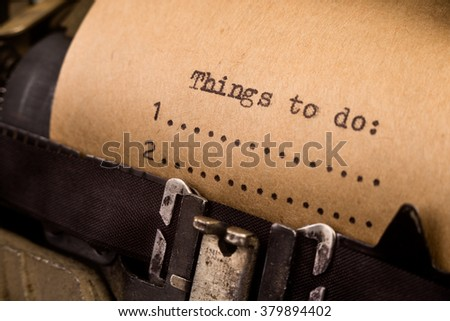 To do list typed on the vintage typewriter  - stock photo