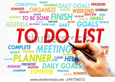 TO DO LIST word cloud, business concept - stock photo