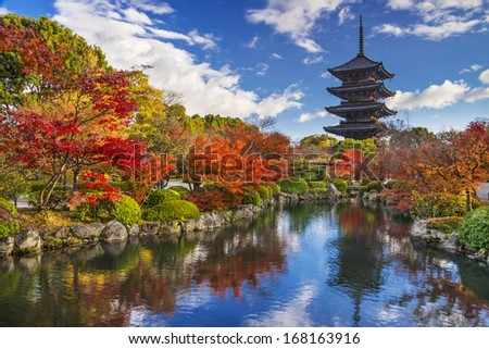 To-ji Pagoda in Kyoto, Japan during the fall season. - stock photo