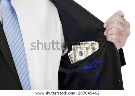 To put money in his pocket - stock photo