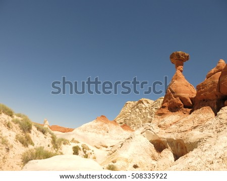 toadstool rock formation,  Grand Staircase Escalante National Monument