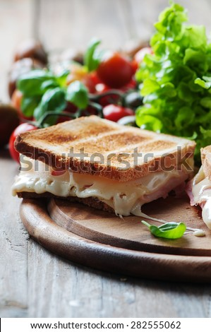 Toas with ham and cheese, selective focus - stock photo