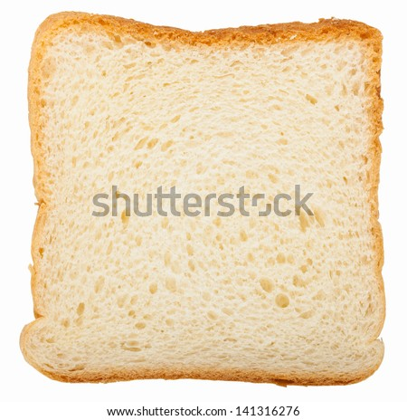 Toast bread slice isolated on white background