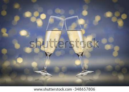 toast champagne blue background