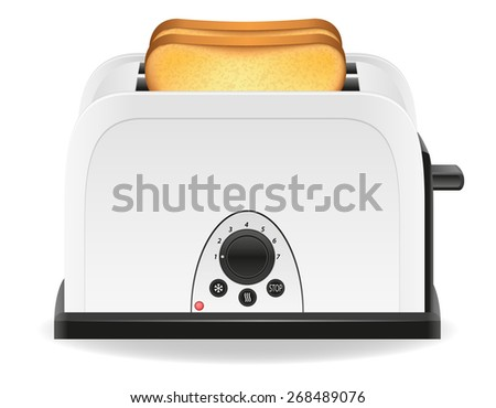 toast in a toaster illustration isolated on white background - stock photo