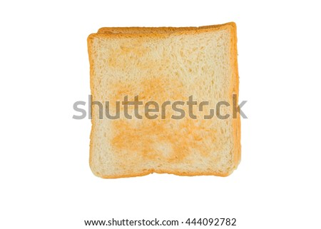 Toast isolated on white background, top view.