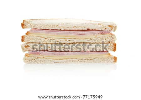 Toast sandwich with ham and cheese isolated on white background. - stock photo