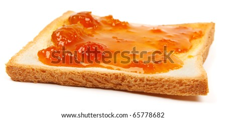 Toast with apricot jam isolated on white