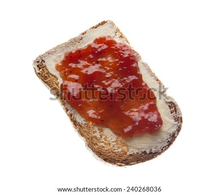 Toast with butter and strawberry jam isolated with white background