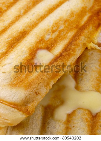 Toast with cheese and ham.