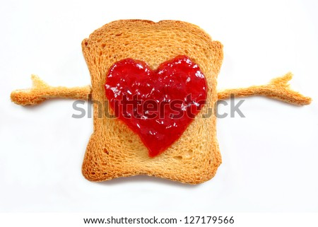 Toast with red jam heart symbol and hands to hug on white background isolated.Love food concept.Valentines day breakfast, heart symbol ,good morning hugs.Love message.Unusual - stock photo
