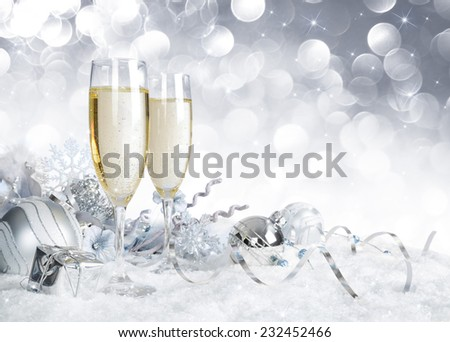toast with silver christmas decoration  - stock photo