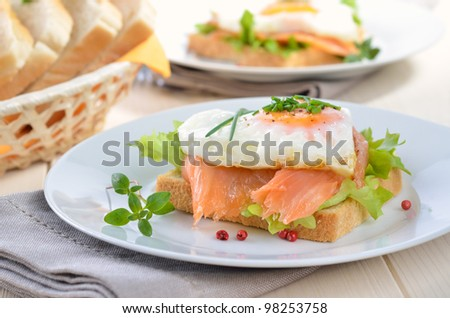 Toast with smoked salmon and heart shaped fried egg