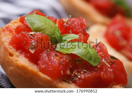 Toast with tomato and basil macro on wooden table