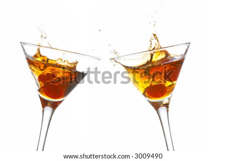 Toast with two cocktail glasses on white background - stock photo