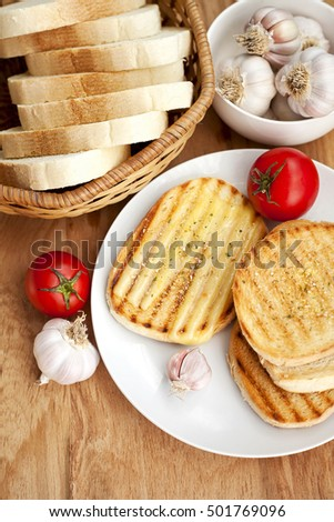 toasted bread and garlic