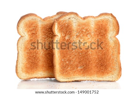 toasted bread on white background - stock photo