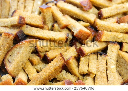 Toasted croutons - stock photo