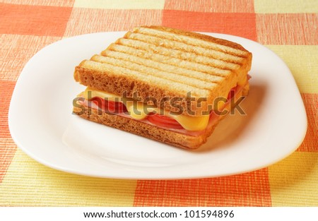 toasted ham and cheese sandwich - stock photo