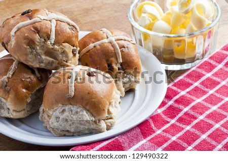 Toasted hot cross buns - stock photo