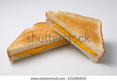 Toasted sandwich cheese on white background - stock photo