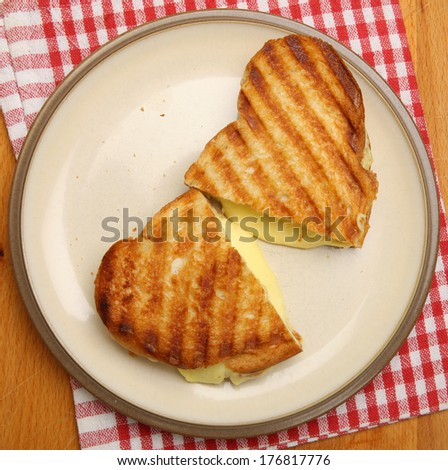 Toasted sandwich with cheese. - stock photo