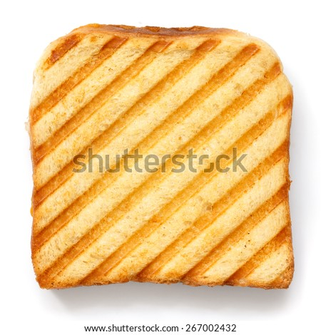 Toasted sandwich with grill marks from above. - stock photo