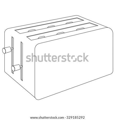Toaster. Illustration isolated on white background. Raster version.