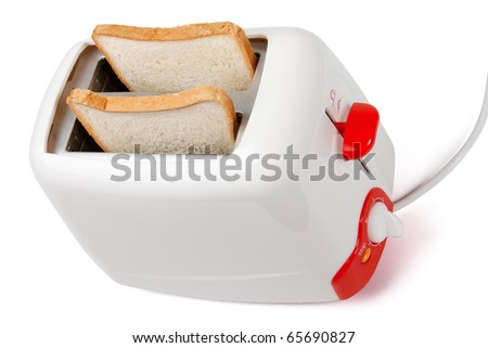 Toaster with bread inside isolated on white - stock photo