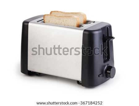 Toaster with bread isolated on white background - stock photo