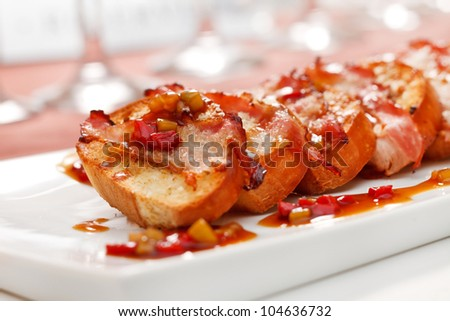 toasts with bacon - stock photo