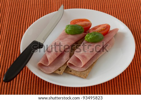toasts with ham