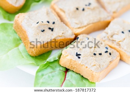 Toasts with tuna paste and green salad - stock photo
