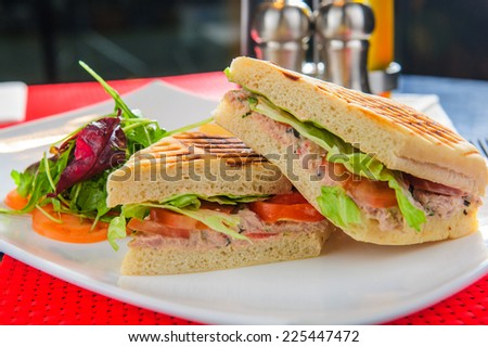 Toasts with tuna served with french fries and salad. - stock photo