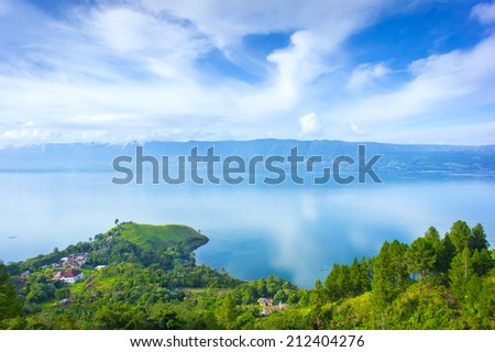 toba lake village from higland view - stock photo