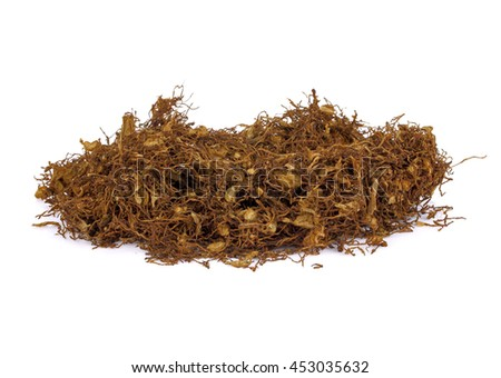 Tobacco leaves were dried, cut into small strips called line tobacco - stock photo