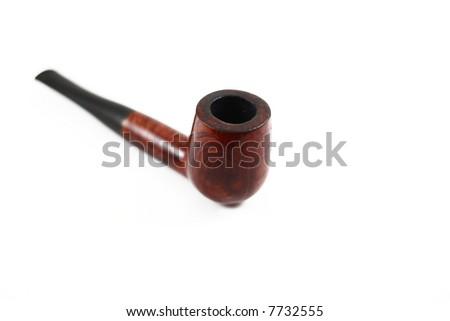 tobacco pipe isolated on white with blur effect - stock photo