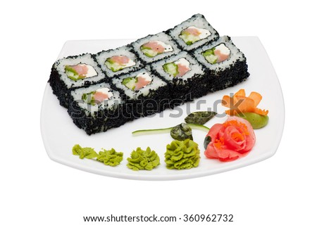 tobico sushi rolls - stock photo