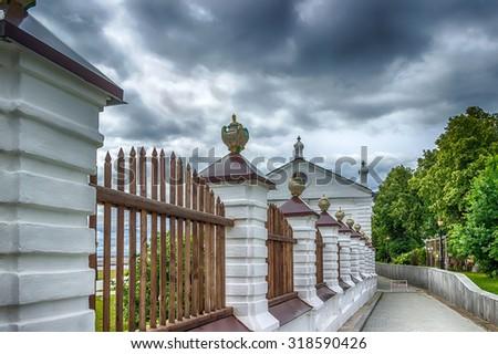 Tobolsk Kremlin courtyard l panorama menacing sky hdr Russia Siberia Asia - stock photo