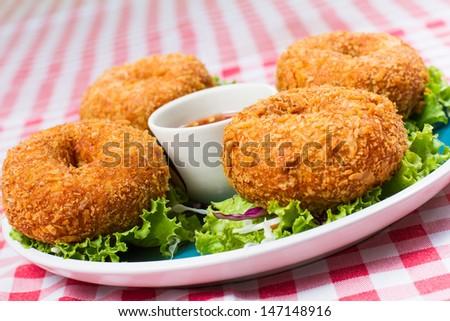 Tod Mun Goong, Thai Food, deep-fried shrimp cakes - stock photo