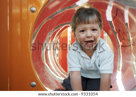 Toddler boy playing - stock photo