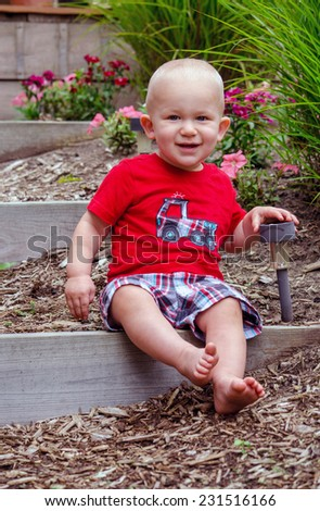 toddler boy poses happily on a wood step on a summers day